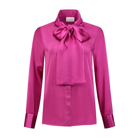 Silk Bow Blouse Violet Rose