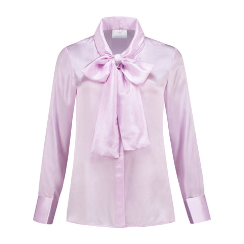 Silk Bow Blouse Lila