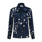 Silk Bow Blouse Silver Flowers