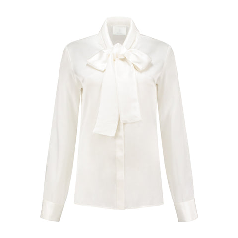 Micro Satin Bow Blouse White Lily