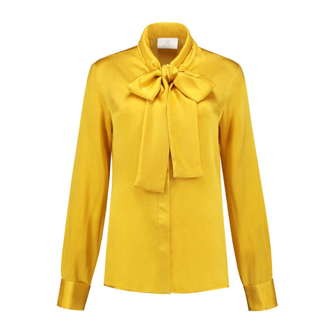 Micro satin Bow Blouse Yellow