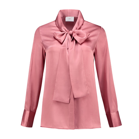 Silk Bow Blouse English Rose