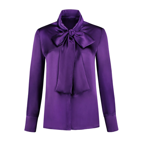 Silk Bow Blouse Purple