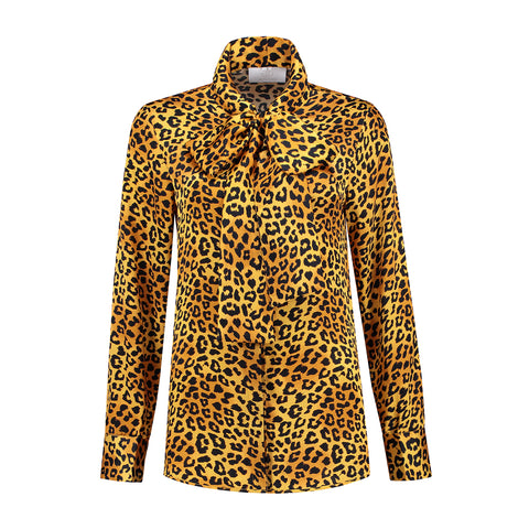 Silk Bow Blouse Panther Print