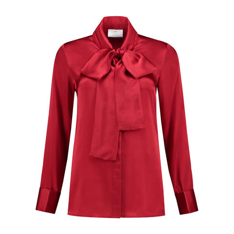 Silk Bow Blouse Ruby Red