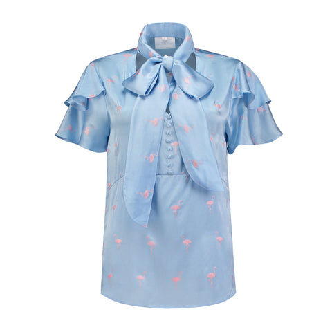 Short sleeve flamingo blouse