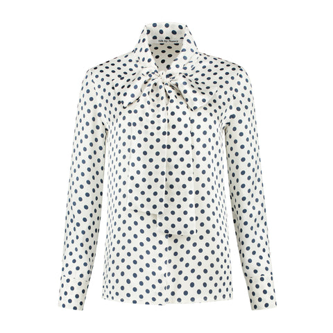 Silk Bow Blouse Black Dots