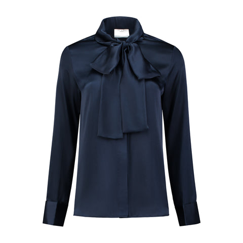 Silk Bow Blouse Navy Blue
