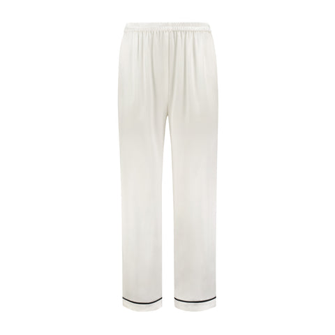 Silk Pajama Pants White Lily