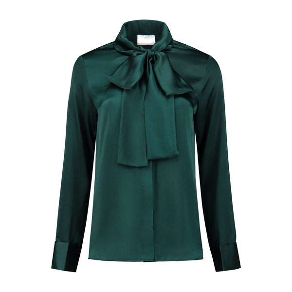 Silk Bow Blouse Emerald Green PRE ORDER ONLY!