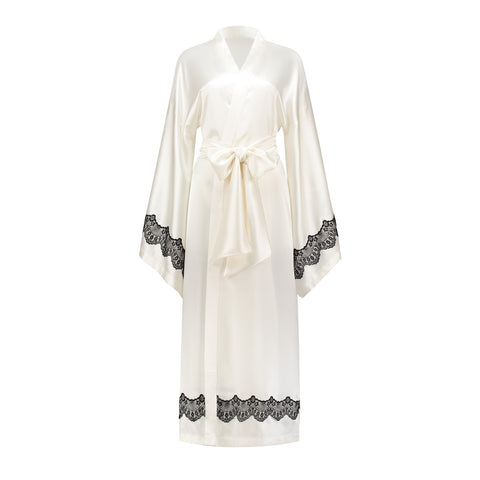 Silk Kimono Offwhite with Black Chantilly Lace