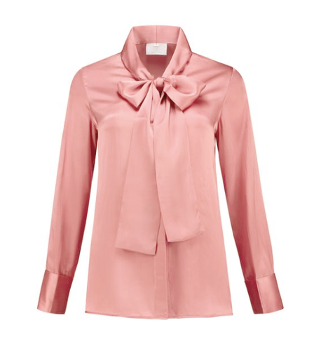 Micro Satin Bow Blouse Blush Pink