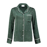 Silk Pajama Blouse Green Pearls
