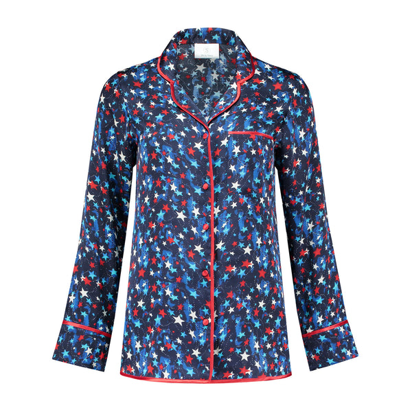 Silk Pajama Blouse Blue Stars