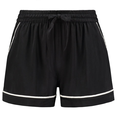 Silk Shorts Black Tulip