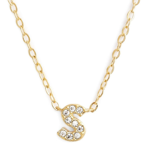 KIKICHIC This delicate CZ pavé letter S initial necklace is perfect for every day. Adorable initial necklace featuring in silver and 18k gold finish with CZ stone. Simple, delicate and elegance, perfect to match your outfit for everyday wear or for a special event. Dainty, simple, elegant and sweet design made to keep your loved one near your heart. The perfect gift to celebrate birthday, anniversary, valentine's, Christmas or more.