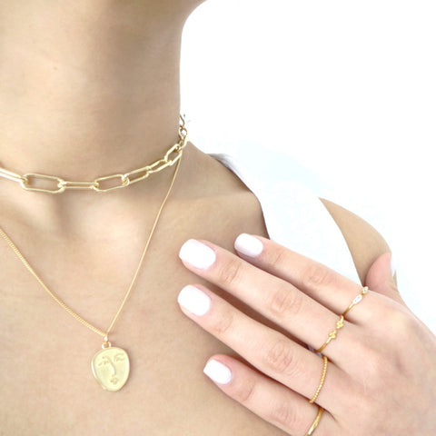 Gold Picasso Face Necklace