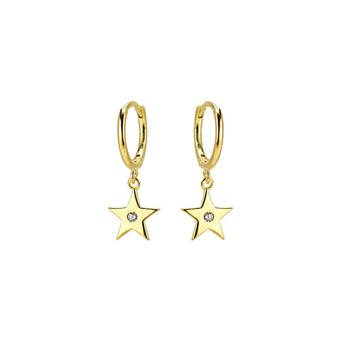KIKICHIC CZ Star Huggies Earrings, Gold Star Hoops Earrings, Silver Star Earrings, Rose Gold Star Earrings, Diamond Star Dangle Earrings, Diamond Star Charm Tiny Hoop Huggies Earrings, Diamond Star Tiny Hoops Huggies, Sterling Silver Huggies Dangling Stars.