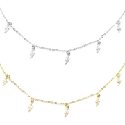 KIKICHIC CZ Lighting Bolt Charms Choker Sterling Silver (925), 14k Gold Thunder Diamonds Choker Adjustable, 14k Gold Dangling Charms Choker, Mini Lighting Bolt CZ Diamond Necklace, White Gold Lighting Bolt Choker, Tiny Lighting Bolt Choker.