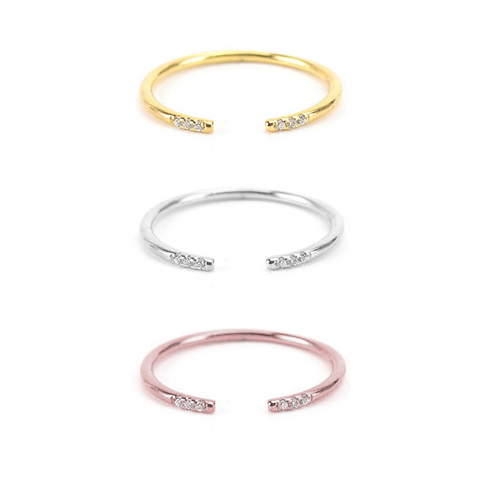KIKICHIC CZ Diamond Band Open Cuff Ring Sterling Silver (925), Dainty Diamond Band Open Ring 18k Gold, Thin Stackable Open Ring Rose Gold, Single Band Minimalist Open Ring Adjustable 18k Gold, Simple Adjustable Open Band Ring Silver, Modern Midi Open Band Ring Stacks, Solid Sterling Thin Open Rings.