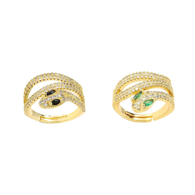 KIKICHIC CZ Diamond Pave Wrap Snake Stackable Rings Sterling Silver (925), Cubic Zirconia Pave Modern Emerald Eyes Snake Ring 18k Gold, CZ Diamond Black Eyes Snake Gold Ring Adjustable, Spiral Wrap Snake CZ Diamond Eyes Open Ring Adjustable Sterling Silver (925), Snake Crystal Ring, 18k Gold Dainty CZ Diamond Snake Ring