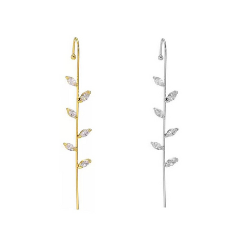 KIKICHIC CZ Pave Diamond Floral Leaf Edgy Pin Hook Ear Cuff, Leaves Modern Cane Ear Climber Cuff 18k Gold, Silver Ear Pin Minimalist Edgy Flower Pin Hook, Leaf Diamond Hook Ear Cuff Pin, CZ Floral Pin Cane Bar Thread Earrings, Gold Hook Ear Cuff Leaves, Over The Ear Hook Bar Cuff Earrings Leaf, Minimalist Pin Hook Ear Climbers Floral, Thread Edgy Hook Ear Cuff Flowers.