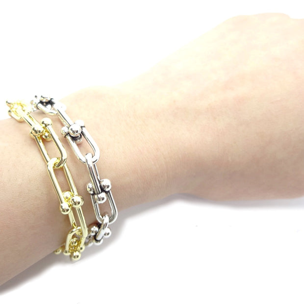 KIKICHIC Paper Clip U Shape Chain Link Bracelet in 14k Gold, Hardwear Link Paper Clip Stacking Bracelet Gold Filled, Sterling Silver (925) Thick Paper Clip Link Chain Stack Bracelet, U Shape Rectangle Link Chain Bracelet Silver, Thick Hardwear U Shape Link Chain Stacking Silver Bracelet, U Link Chain Gold Filled Stack Bracelet, Fine U Ball Chain 14k Gold Bracelet.