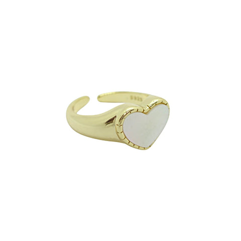 KIKICHIC Mother of Pearl Gold Heart Open Pinky Ring, Silver Heart Pearl Ring, Signet Pearl Ring, Silver Pearl Ring Heart Shape, Mother of Pearl Small Heart Signet Ring, Dainty Pearl Heart Pinky Ring, Adjustable Sweet Heart Ring, Open Valentines Heart Ring, Minimal Love Heart Ring, Pearl Love Heart Shape Ring, Signet Pearl Pinky Ring