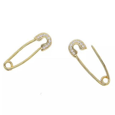 KIKICHIC Single or Pair 18k Gold CZ Pave Safety Pin Earring Solid Sterling Silver (925). Please note Safety Pins earrings are sold individually or in pairs.