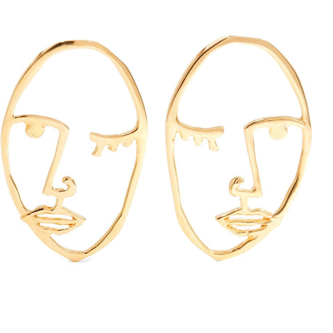 KIKICHIC Silver Women Face Stud Earring, 18k Gold Abstract Wink Face Hollow Open Earrings, Picasso Face Sisters Earrings, Art Face Wire Earrings.