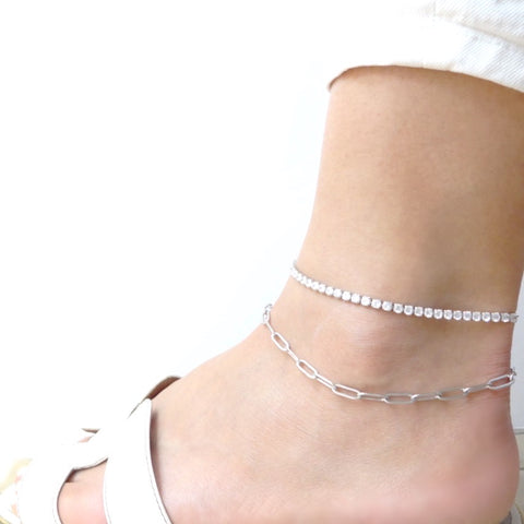 KIKICHIC Diamond White Gold Anklet, Cubic Zirconia Tennis Anklet Bracelet Sterling Silver, Yellow Gold Tennis Anklet, Diamond Tennis Anklet Bracelet, Diamond Collar Anklet, Dainty Diamond Anklet Summer, Thin Tennis Anklet Sandals Silver, Anklet Diamond Cut Tennis Design.