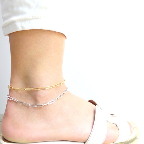 KIKICHIC Paper Clip Chain Link Anklet  in 14k Gold, Oval Mini Link Paper Clip Stacking Anklet Gold Filled, Stainless Steel Thin Paper Clip Link Chain Stack Anklet, Paper Clip Rectangle Link Chain Anklet Silver, Medium Paper Clip Link Chain Stacking Silver Anklet, Paper Clip Flat Link Chain Gold Filled Stack Anklet, Fine Rectangle Paper Clip 14k Gold Anklet Bracelet.
