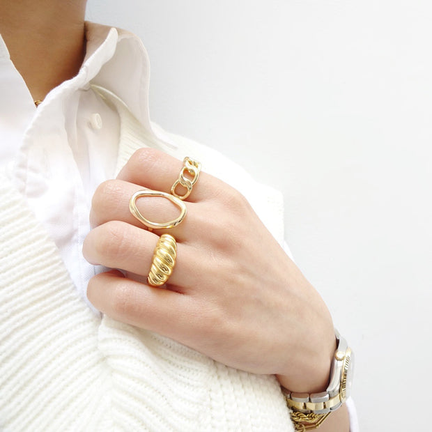 KIKICHIC Simple Croissant Ring Sterling Silver (925), Stack Croissant Design Open Ring 18k Gold, Stackable Thick Croissant Ring Gold, Simple Croissant Minimalist Open Ring Adjustable 18k Gold, Simple Adjustable Open White Gold Dome Croissant Ring Silver, Modern Small Open Dome Twist Ring Stacks, Solid Sterling Solid Statement Gold Croissant Fine Open Rings.