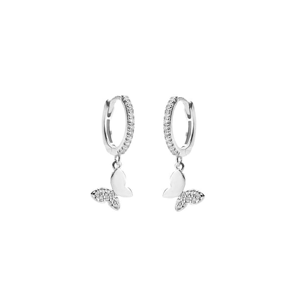 KIKICHIC Cz Diamond Butterfly Hoops Earrings Sterling Silver, CZ Pave Diamond Butterfly Dangling Huggies Earrings Gold, Gold Crystals Butterfly Earrings Hoops, Diamonds Butterfly Drop Hoop Earrings, Pave Diamonds Silver Butterfly Hoop Earrings