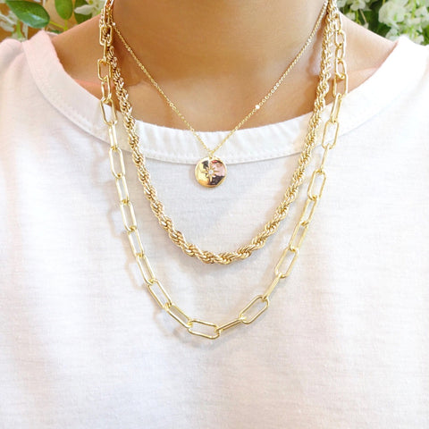 KIKICHIC Classic Rope Chain Link Choker Necklace in 14k Gold, Hollow Rope Chain Stacking Necklace Gold Filled, 14k Gold Thick Rope Chain Choker, Cut Rope Chain Necklace 14k Gold, Solid Gold Rope Chain Stacking Long Necklace, White Gold Rope Chain Necklace Gold Filled Choker, Fine Rope 14k Gold Necklace.