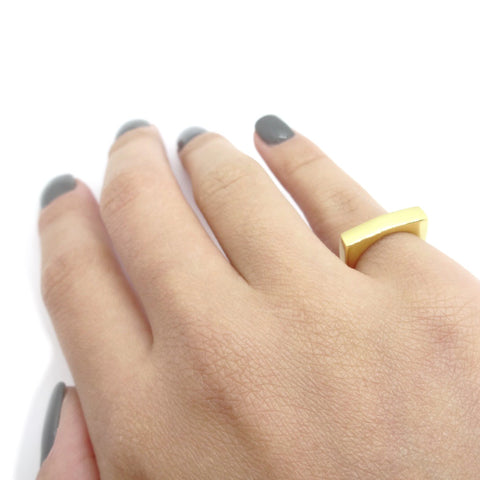 KIKICHIC Gold Bar Signet Pinky Ring, Rectangle Pinky Ring, Signet Pinky Ring, Silver Pinky Ring Bar Shape, Small Heart Signet Ring, Dainty Bat Pinky Ring, Adjustable Heart Ring, Open Bar Ring, Minimal Rectangle Ring, Geometric Pinky Ring, Signet Bar Pink Ring