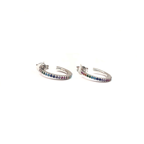KIKICHIC Rainbow Huggies Hoop Earrings in Rose Gold, Silver Rainbow Hoop Earrings, Colorful Hoop Huggies in Gold, Rainbow Stud Earrings, Hypoallergenic Hoop Earrings, Rainbow Jewelry