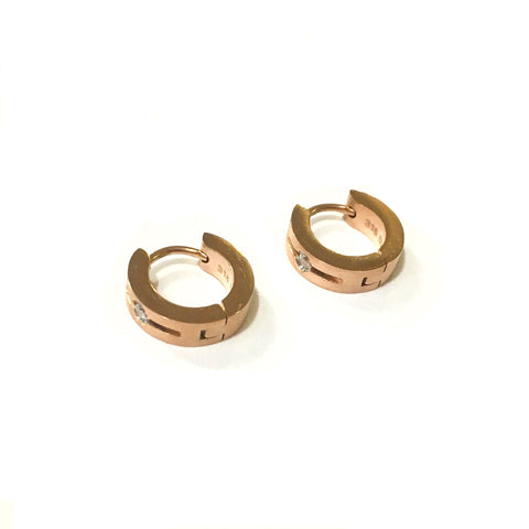 KIKICHIC Rose Gold, Silver and Gold Hoop Earrings Stainless Steel, Dainty Hoop Earrings, Minimalist Rose Huggie Earring, Minimalist Rose Hoop Earrings, 2018 Earring. Perfect for everyday wear, these dainty CZ hoop earrings are sure to delight. Crafted in stainless steel, each hoop shimmers with a single CZ diamonds aligned down the front outside edge.