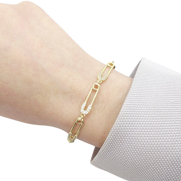 KIKICHIC Gold Safety Pin Bracelet, 14k Gold Diamond Pave Safety Pin Bracelet, Small Safety Pin Link Bracelet, Pave CZ 14k Gold Safety Pin Bracelet, Edgy Gold Safety Pin Bracelet, Modern Gold Bracelet, 2021 Gold Bracelet, Gold Plated Safety Pin Bracelet.
