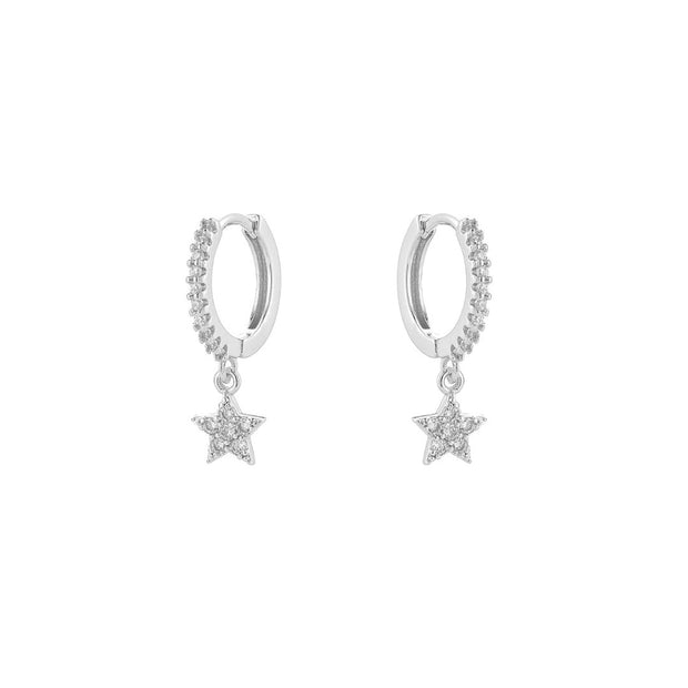 KIKICHIC CZ Diamond Pave Star Huggies Earrings, Gold Star Hoops Earrings, Silver Star Earrings,  Diamond Pave Star Earrings, Diamond Star Dangle Earrings, Diamond Star Charm Tiny Hoop Huggies Earrings, Diamond Star Tiny Hoops Huggies, Sterling Silver Huggies Dangling Stars.