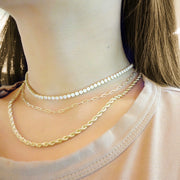 KIKICHIC Thin Classic Rope Link Choker Necklace in 14k Gold, Hollow Rope Chain Stacking Necklace Gold Filled, 14k Gold Skinny Rope Chain Choker, Cut Rope Thin Chain Necklace 14k Gold, Solid Gold Skinny Rope Chain Stacking Necklace, Thin Gold Rope Chain Necklace Gold Filled Choker, Fine Rope 14k Gold Necklace.