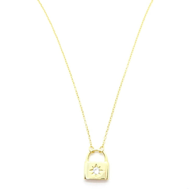 KIKICHIC Gold Lock Necklace, Diamond Starburst Padlock Necklace Silver, CZ  Diamonds Lock Necklace Sterling Silver 14k Gold, Silver Starburst Padlock Necklace Gold, Diamond Silver Lock Dainty Necklace, Lock Shape Gold Necklace, Minimal Lock Silver Necklace, Dainty Gold Lock Necklace, Starburst Crystal Lock Necklace