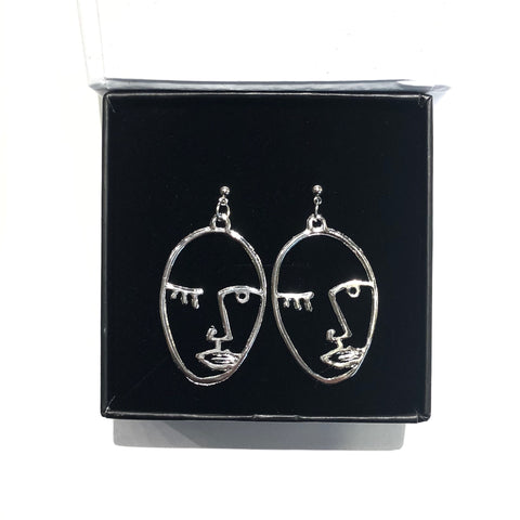 KIKICHIC Silver Women Face Earring Dangling, 18k Gold Abstract Wink Face Hollow Open Earrings, Picasso Face Sisters Earrings, Rose Gold Art Face Wire Earrings. Get ready to shine with these stunning endless minimalist abstract face earrings! They feature impressive and eye-catching high polish shine that really elevate this style. You'll love the sophisticated look of these popular lady face earrings for your next event.