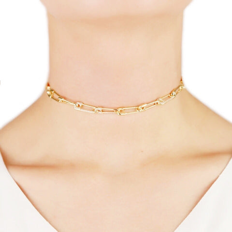 KIKICHIC Gold Safety Pin Choker Necklace, Diamond Pave Safety Pin Choker Necklace, Small Safety Pin Link Choker, Pave CZ Safety Pin Necklace, Edgy Safety Pin Choker, Modern Gold Choker, 2019 Choker, Gold Plated Safety Pin Choker Necklace
