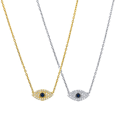 KIKICHIC Mini Evil Eye Necklace Sterling Silver, 18k Gold CZ Diamond Evil Eye Necklace, Good Luck Evil Eye Necklace Gold, Turkey Evil Eye Small Necklace Everyday, Protection CZ Evil eye Necklace Everyday, Good Luck Diamond Evil Eye Necklace