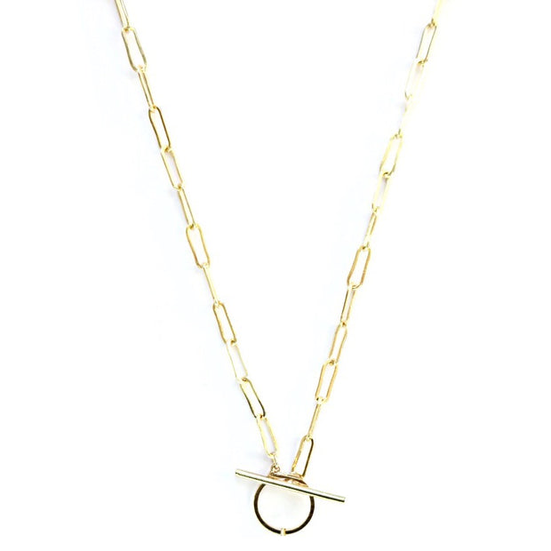 KIKICHIC Gold Paper Clip T Bar Clasp Necklace, Thin Link Paper Clip Necklace Front Toggle Clasp, Rectangle Link Paper Clip Necklace 14k Gold Filled, Simple Paper Clip Link Chain Toggle Clasp Necklace Gold, Thin Flat Link Chain 14k Gold T Bar Clasp Necklace, Fine Rectangle 14k Gold Filled Open Front Necklace.