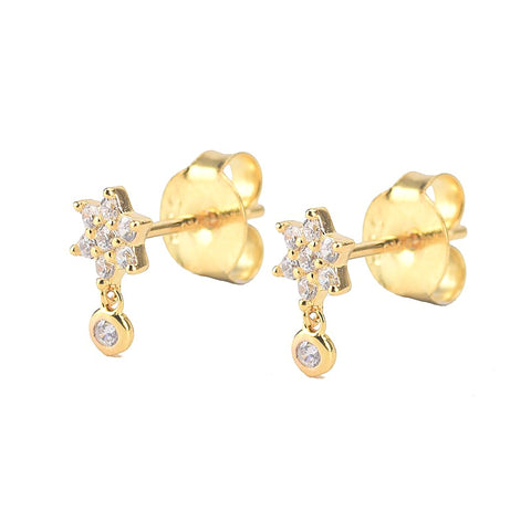 KIKICHIC CZ Diamond Flower Stone Dangling Stud Earrings Sterling Silver 928 with 18k Gold Plated, Hypoallergenic Sterling Silver Earrings Flower Design