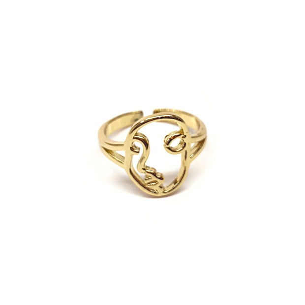 KIKICHIC Abstract Face Adjustable Ring, Gold Women Face Ring, Silver Artistic Face Ring, Rose Gold Picasso Face Ring Adjustable, Artsy Face Ring Gold, Unique Face Ring Adjustable, Face Design Ring, Hollow Face Ring Silver, Ring 2018, Rings 2019, Minimalist Face Ring