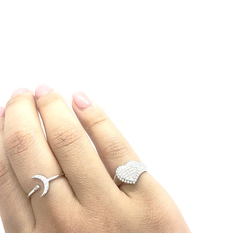 KIKICHIC CZ Diamond Pave Moon Stackable Rings Sterling Silver (925), Cubic Zirconia Pave Modern Moon Ring 18k Gold, CZ Moon Rose Gold Ring Adjustable, Minimal Moon CZ Open Ring Adjustable Sterling Silver (925), Moon Crystal Ring, Dainty CZ Diamond Moon Ring
