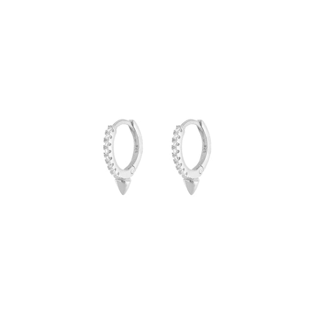KIKICHIC CZ Pave Diamond Spike Huggies Hoops Earrings, Tiny Diamonds Hoops, Rose Gold Huggies Hoop Earrings, Minimal Diamond CZ Hoops Thin Earrings, CZ Thin Huggies Earrings, Silver Tiny Diamond Huggies, CZ Tiny Small Everyday Earrings.